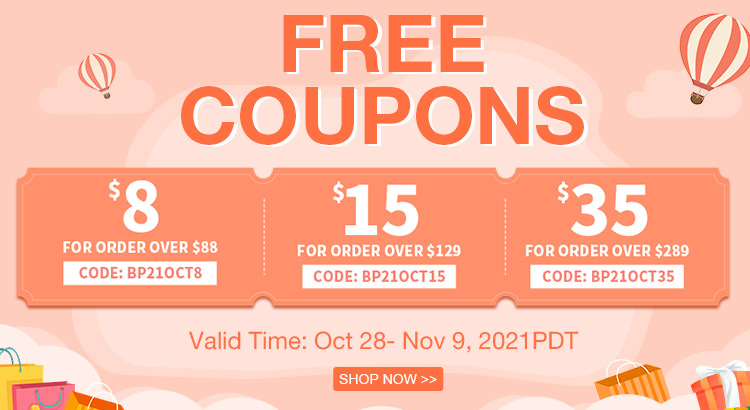 Free Coupons Valid Time: Oct 28- Nov 9, 2021PDT Shop Now